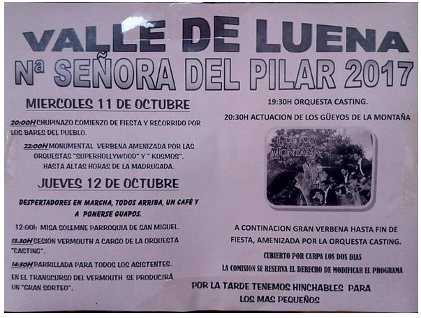 Fiestas del Pilar en el Valle de Luena 2017