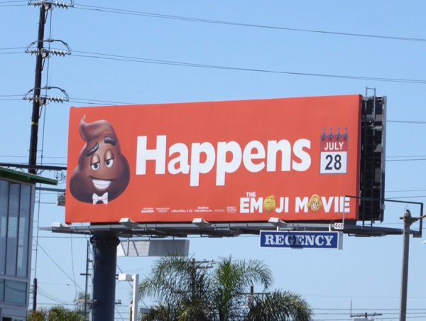 shit happens Emoji Movie billboard