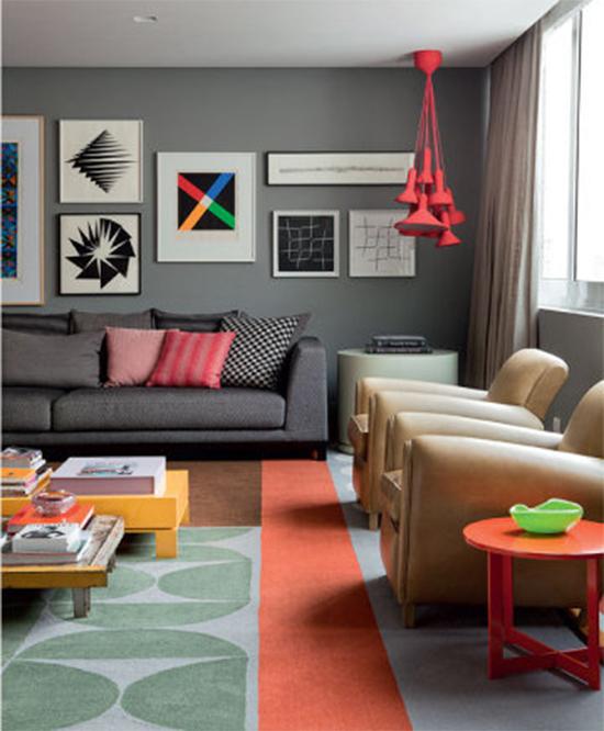 sala decorada, tapete colorido, parede cinza, a casa eh sua, acasaehsua, decor, home decor, interior, decoração, parede cinza