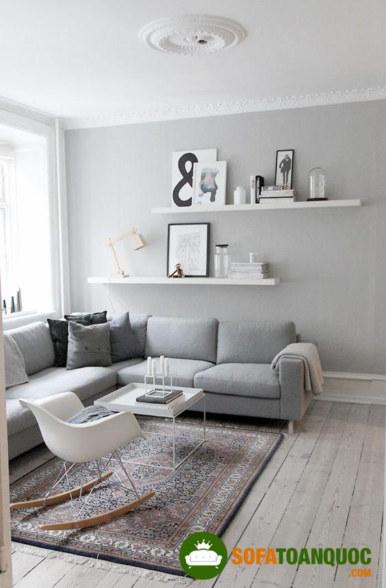 Bộ ghế sofa góc màu sắc trung tính cho phòng khách