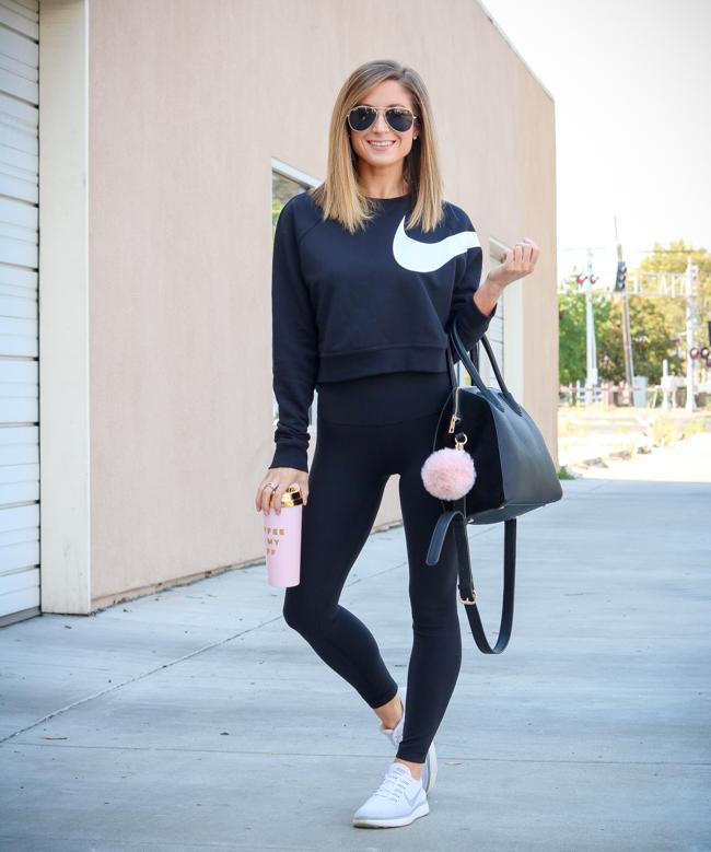 nike cropped sweatshirt lululemon align pant II nike sneakers