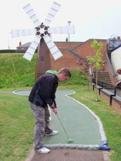 Crazy Golf windmill at Oddballs Crazy Golf course in Cleethorpes