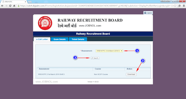 download NTPC admit card rrb