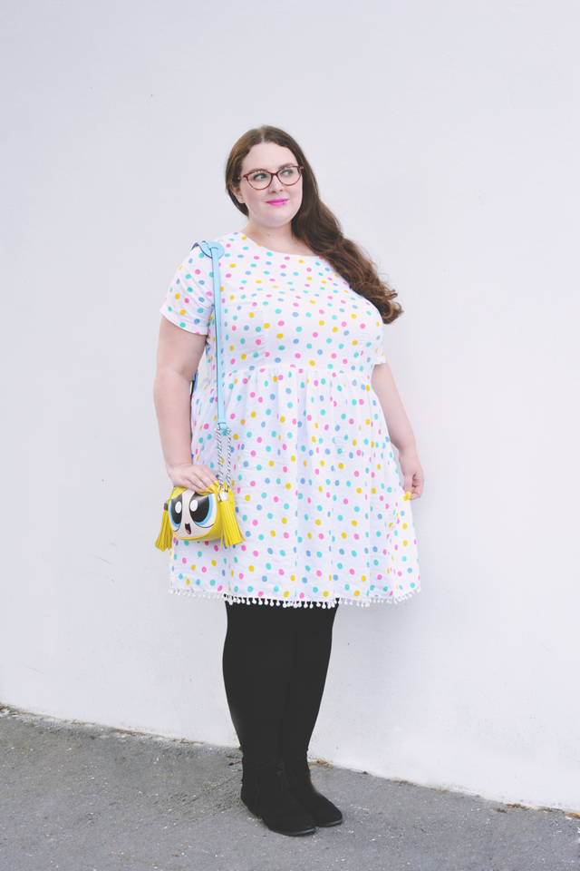 Plus size rainbow polkadot dress