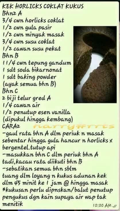 resepi kek horlicks coklat kukus