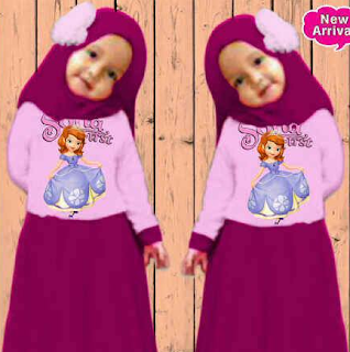 Baju muslim untuk lebaran anak perempuan motif sofia first