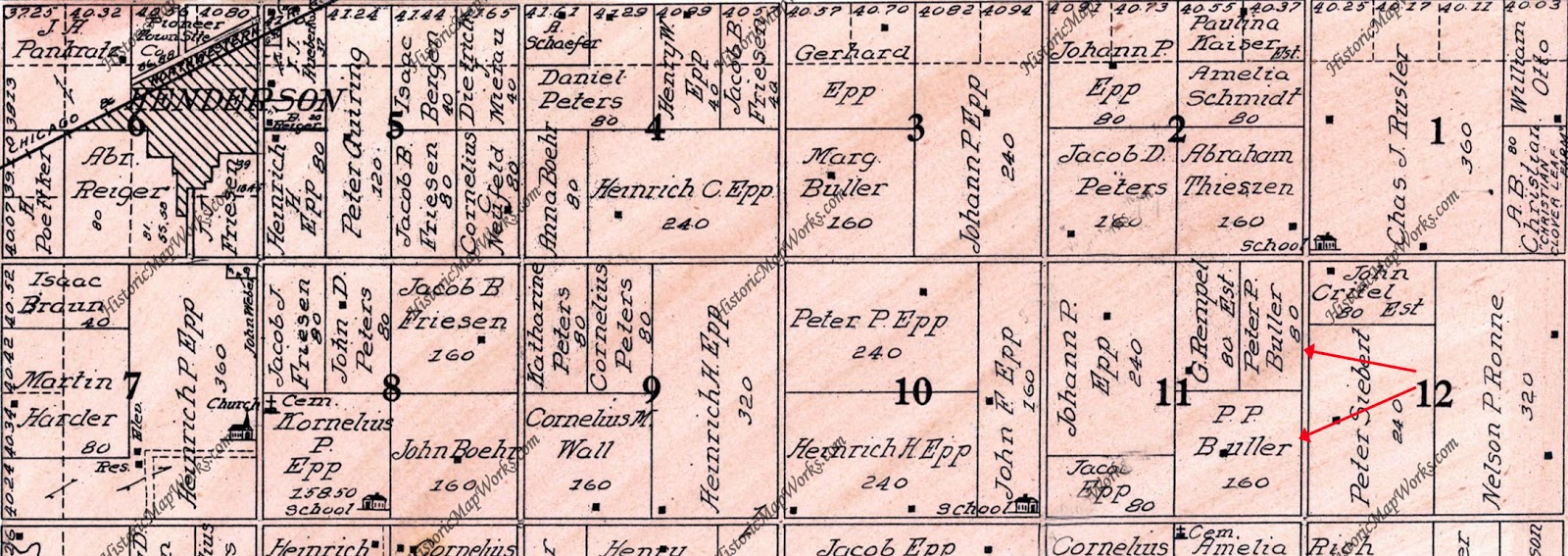 they were married in 1890 and moved in with her parents on a farm 4 miles east of henderson as shown in the 1911 map immediately below
