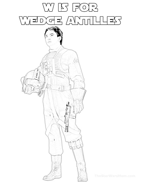 W is for Wedge Antilles in the Star Wars Alphabet Coloring Pages
