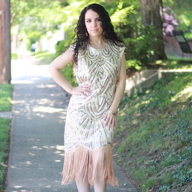 Beige Sequin Flapper Dress