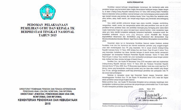 Pedoman Pelaksanaan Pemilihan Guru dan Kepala Sekolah PAUD TK Berprestasi