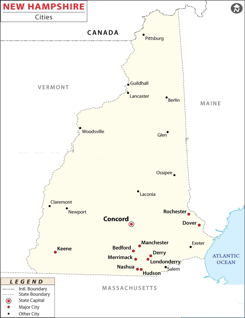 United States Map Map Of USA - Road map of new hampshire
