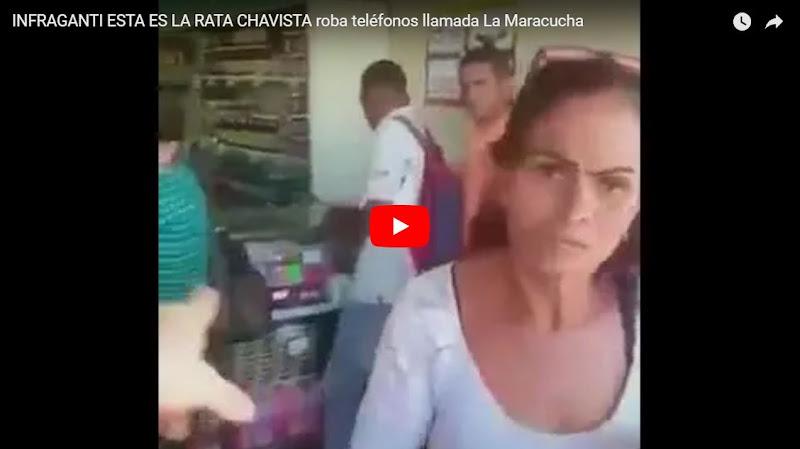 Graban In Fraganti a la rata chavista ladrona de celulares en plena acción