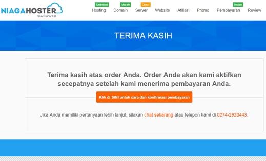 Order domain .com berhasil