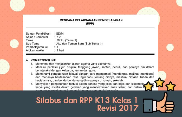 Silabus dan RPP K13 Kelas 1 Revisi 2017