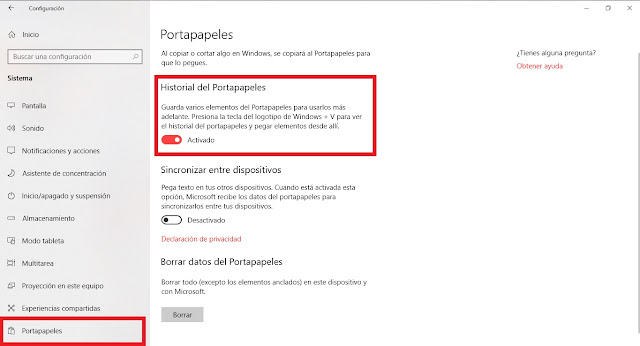 Como activar el portapapeles en Windows 10
