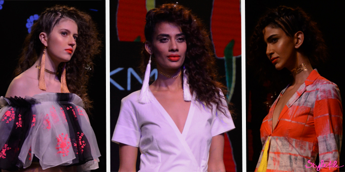 Models wear tight curls with a side parting and cornrows with an orange lip and metallic flash tattoo choker for Masaba Gupta at Lakme Fashion Week Summer Resort 2016 at St. Regis, Mumbai
