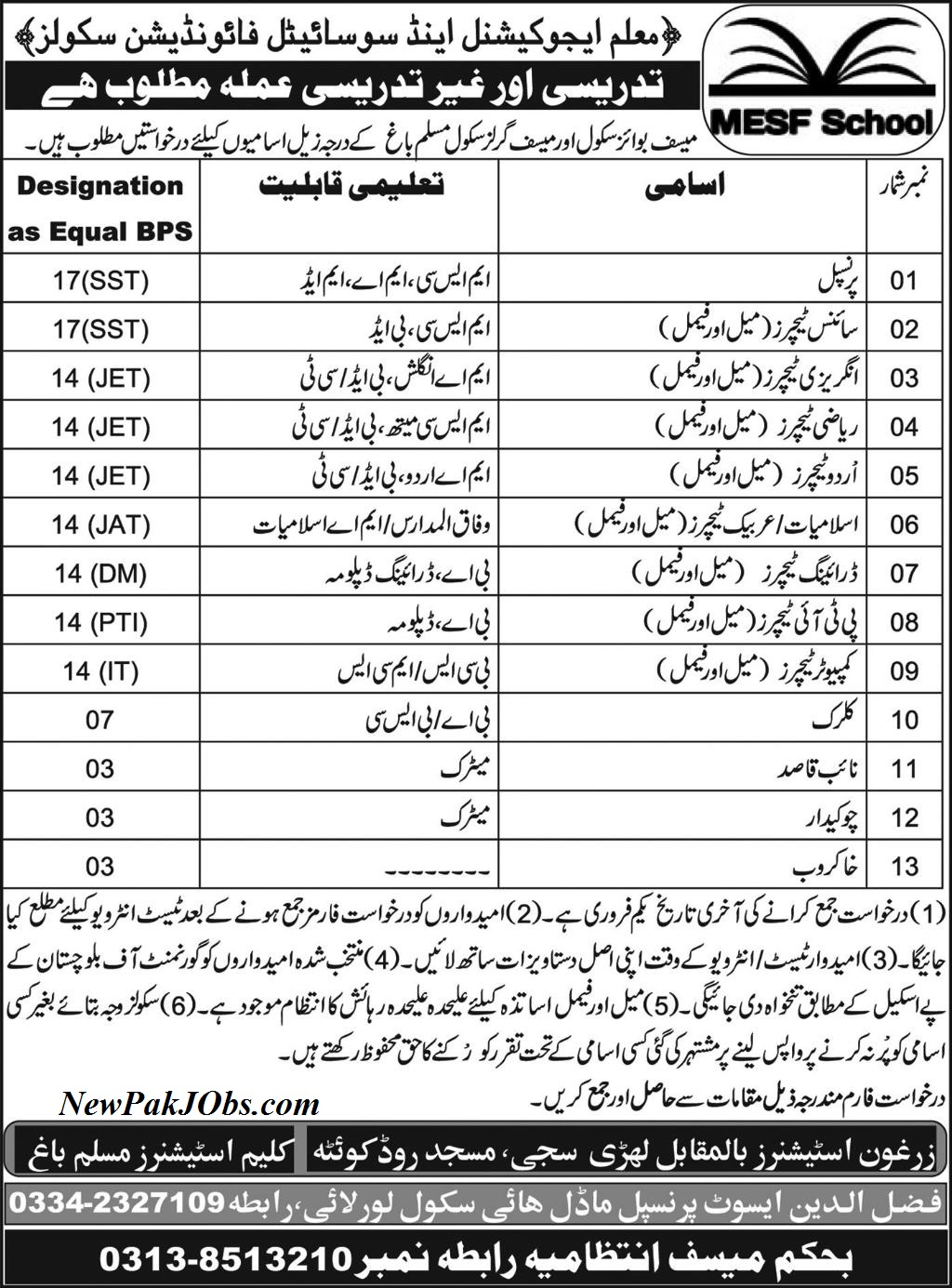 Latest Jobs in MESF Boys & Girls Schools  Quetta 19 Jan 2018
