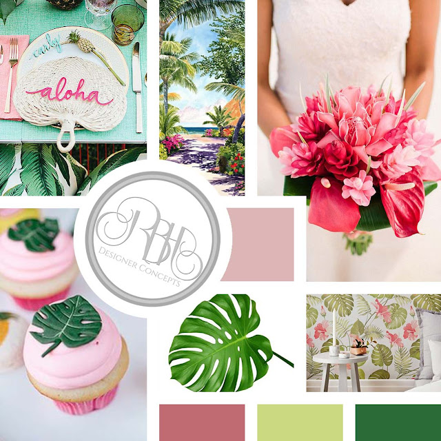 tropical island watercolour mood board by rbh designer concepts