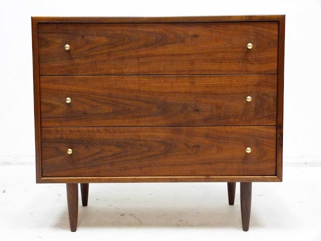 Three-Drawer Mid-Century Modern Walnut Bachelor Dresser Chest Front