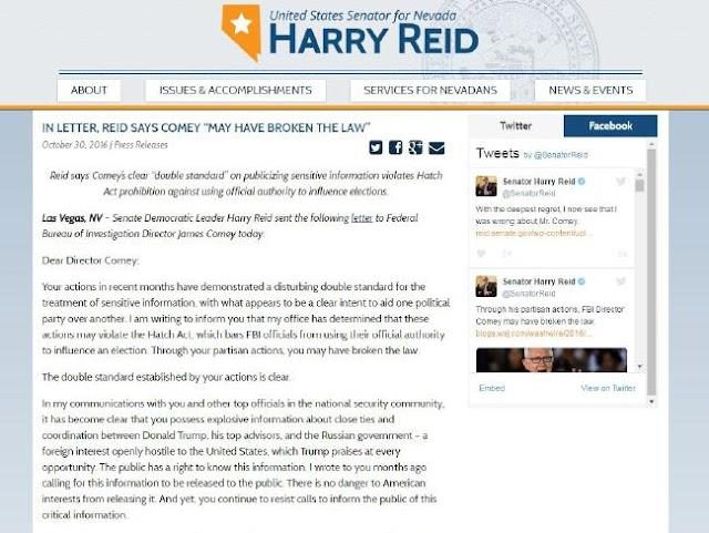 Senator Harry Reid claims FBI has unreleased 'explosive information' on Donald Trump