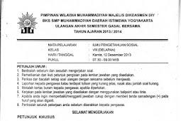 Soal UAS IPS SMP Kelas 7-9 Semester 1 BKS Muhammadiyah DIY