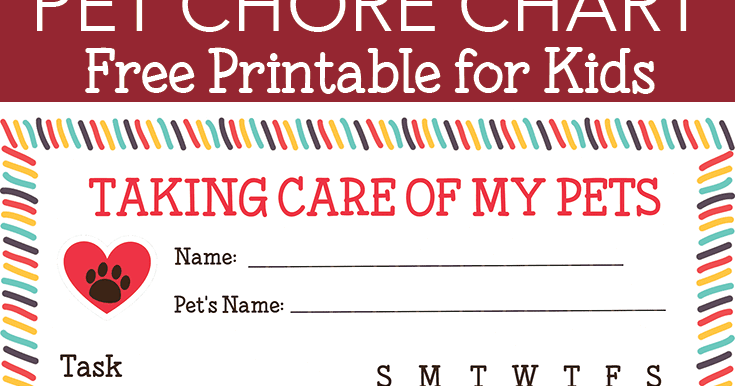 free printable pet responsibility chart for kids