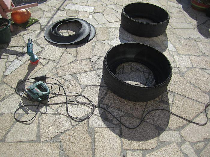 Manualidades puri diaz estanques con neum ticos de furgoneta for Maceteros con ruedas de coche