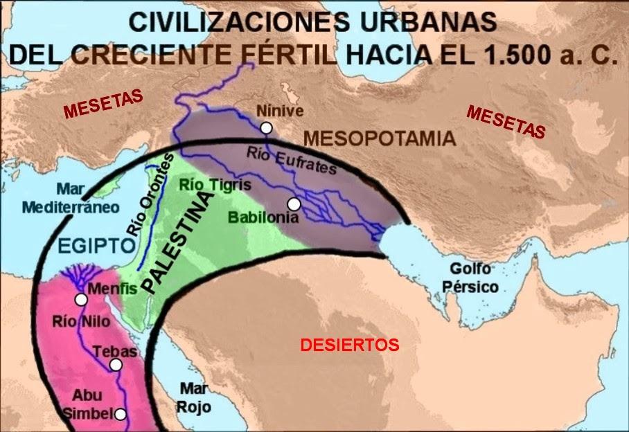 Mapa De Oriente Medio El Creciente Fertil.Histogeomapas Civilizaciones Urbanas Del Creciente Fertil