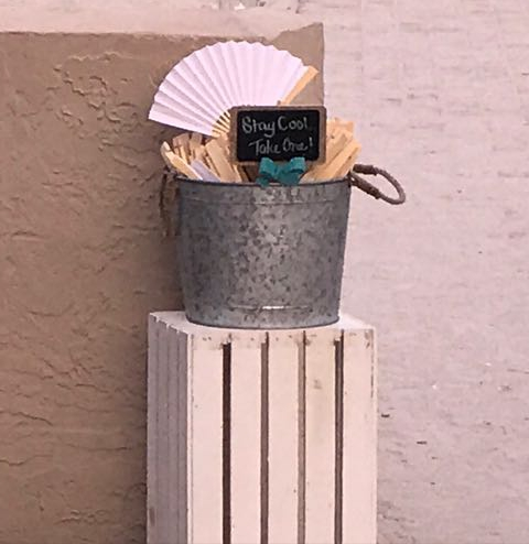 outdoor wedding, hand fans, beach wedding, wooden crates