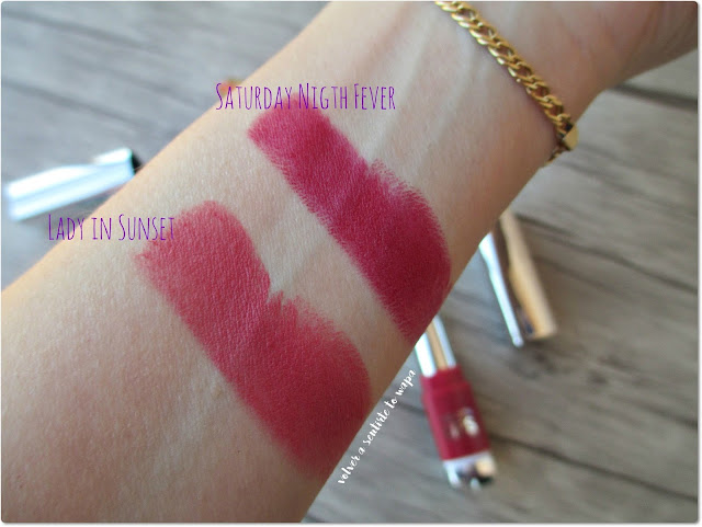 Swatches de los Labiales Prime'n Lips de Flormar - PL21 Saturday Night Fever y PL07 Lady Sunset