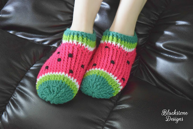 Adult Size Watermelon Slippers Post Stitch Slippers