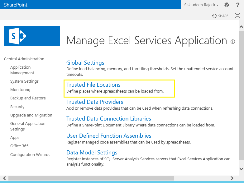 configure excel services in sharepoint 2013