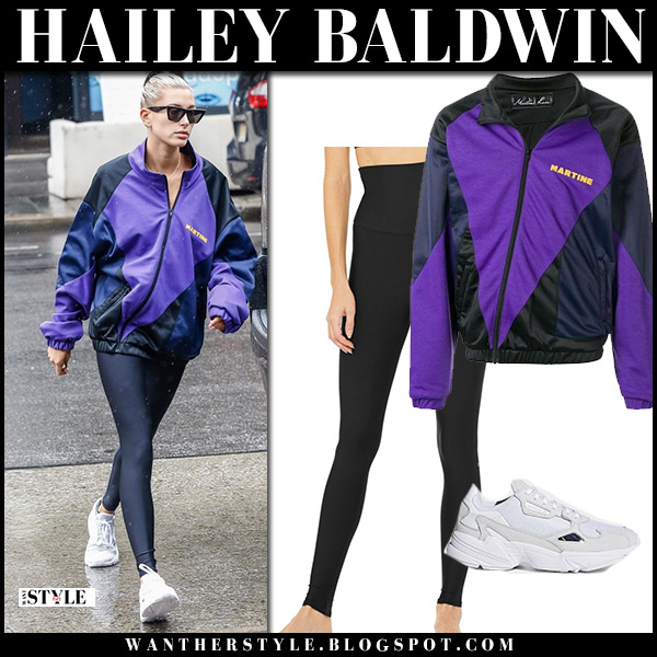 Hailey Baldwin in purple jacket and black leggings model street fashion august 13