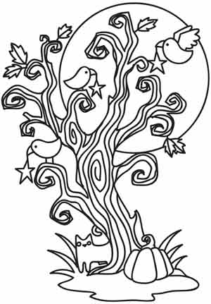 scary trees coloring pages | Coloring Page World: Spooky Tree (Portrait)