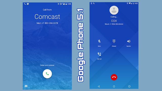 Aplicația Google Phone 5.1 prezentă pe Android 7.1 pe telefoanele Pixel este compatibilă cu dispozitivele Nexus