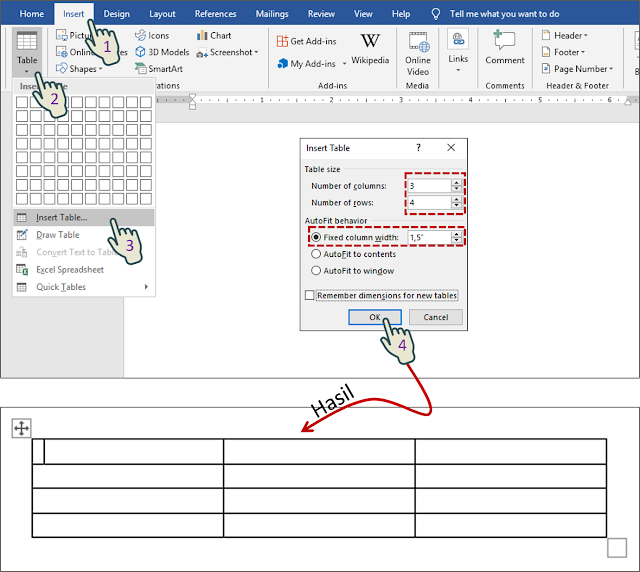 Insert table and Fixed column width