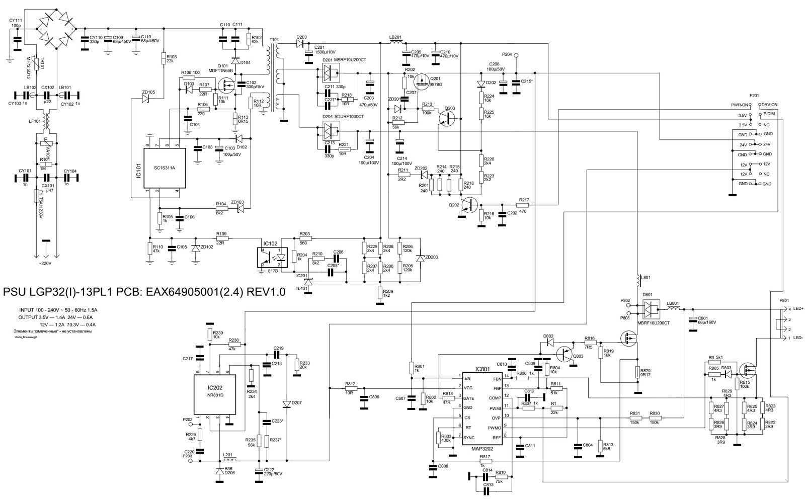 lg32ln530b led lcd tv power supply board eax64905001 circuit lg lcd tv power supply circuit diagram [ 1600 x 994 Pixel ]