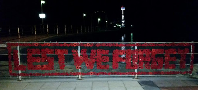 "Red poppies, crocheted and knitted, arranged to form the words ""LEST WE FORGET"" bordered by poppies on a rectangular mesh frame which is attached to the railings of Brighton Jetty. The jetty can be seen in the background. It is night time."