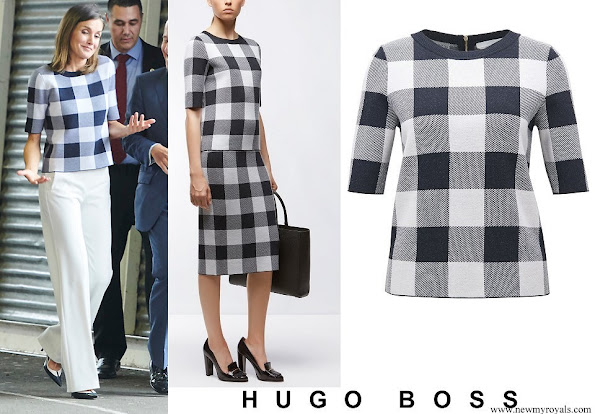 Queen Letizia wore Hugo Boss Floriza gingham wool blend knit top