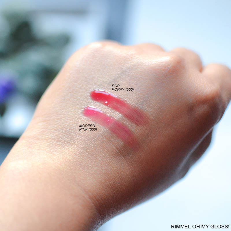 Rimmel Oh My Gloss Oil Tint Lipgloss - Swatch - Modern Pink 300 - Pop Poppy 500