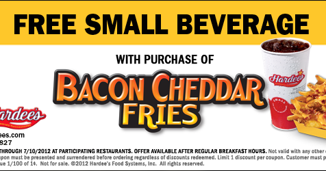 Easley Eats Hardee S Coupon Free Drink With Purchase Of