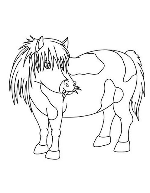 Gambar mewarnai kuda poni untuk anak paud dan tk - Coloriage poulain ...