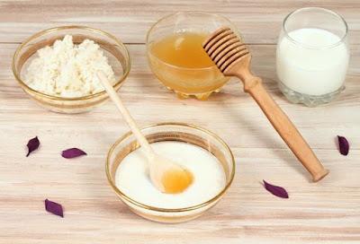 máscara de arroz, mel e leite