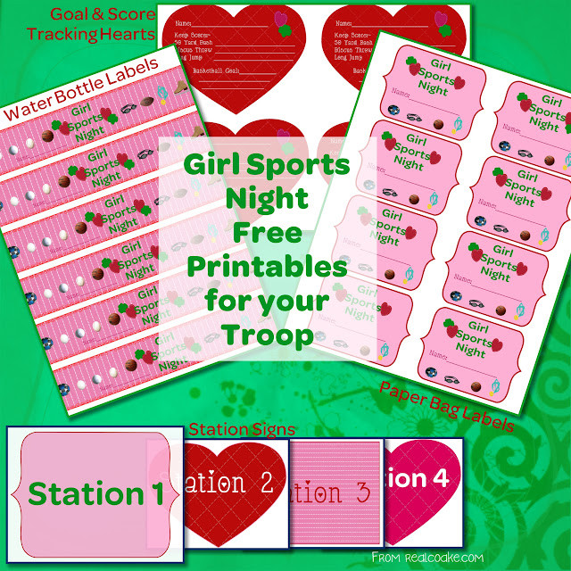 grahpic showing all free printables for Girl Sports night