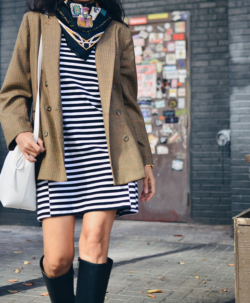 Striped shift dress outfit idea