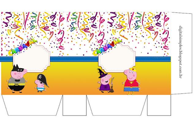 Caja para Imprimir Gratis de Peppa Pig en Carnaval.