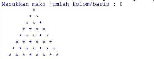 contoh program python menampilkan segitiga bintang rata kanan dan rata kiri