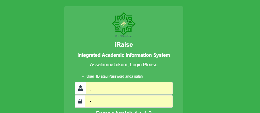 Cara mengatasi lupa password iRaise (Integrated Academic Information System) UIN SUSKA RIAU