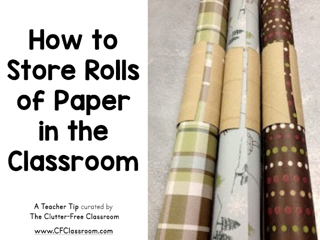 Teachers often store rolls of paper for bulletin boards in the classroom. This is a clever idea for keeping it rolled neatly.
