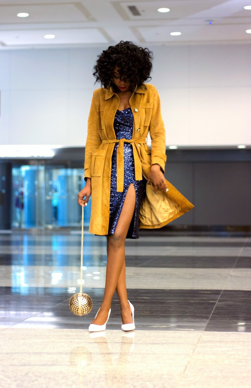 Suede Trench and Sequin Dinner Dress Look